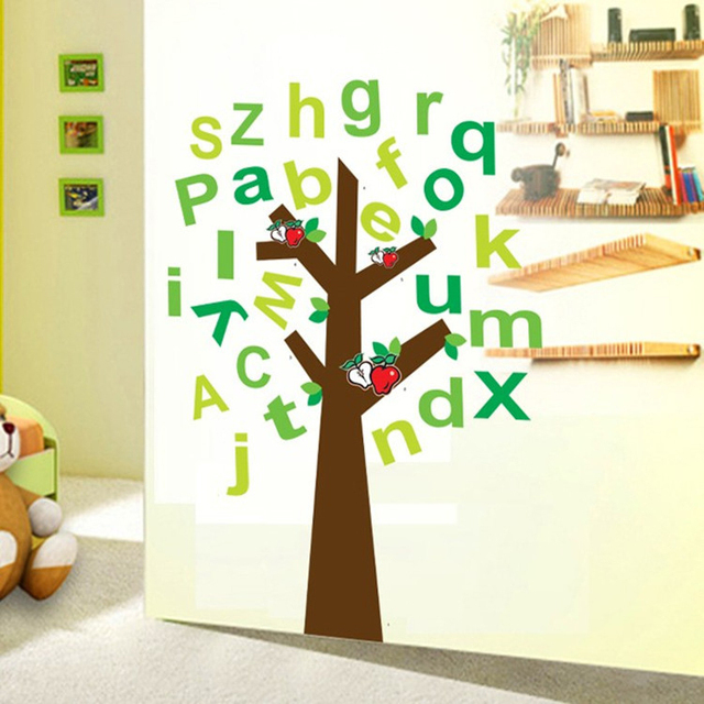 1 Piece 90*120cm Removable Alphabet Tree Wall Sticker Letter Sticker Kids  Baby Infant Room Part 73