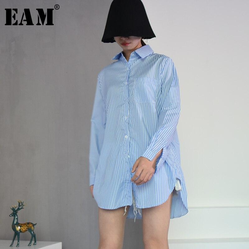 [EAM] 2017 autunno risvolto di Modo Nuovo Maniche Lunghe di colore solido blu a righe Lungo Paragrafo donne Slaccia la Camicia marea G01605