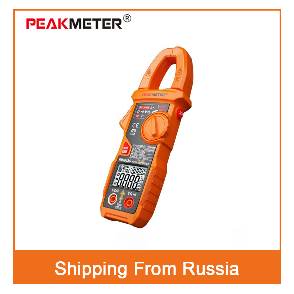 PM2018S Portable Smart AC Digital Clamp Meter Multimeter AC Current Voltage Resistance Continuity Measurement Tester auto digital clamp meter mastech ms2108a pincers ac dc current voltage capacitor resistance tester aimometer multimeter amper