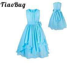TiaoBug Flower Girls Dresses For Weddings Princess Tutu Chiffon Bow Kids First Communion Party Formal Pageant Summer Dress