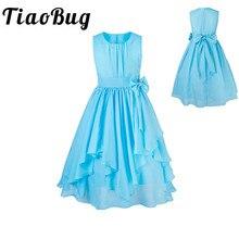 TiaoBug Çiçek Kız Elbise Düğün Için Prenses Tutu Şifon Yay Çocuk İlk Communion Parti Örgün Pageant yaz elbisesi