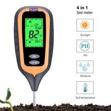 סקר כלי חדש גדול LED 4 ב 1 צמח אדמת PH אור מד לחות PH ערך אור שמש tester
