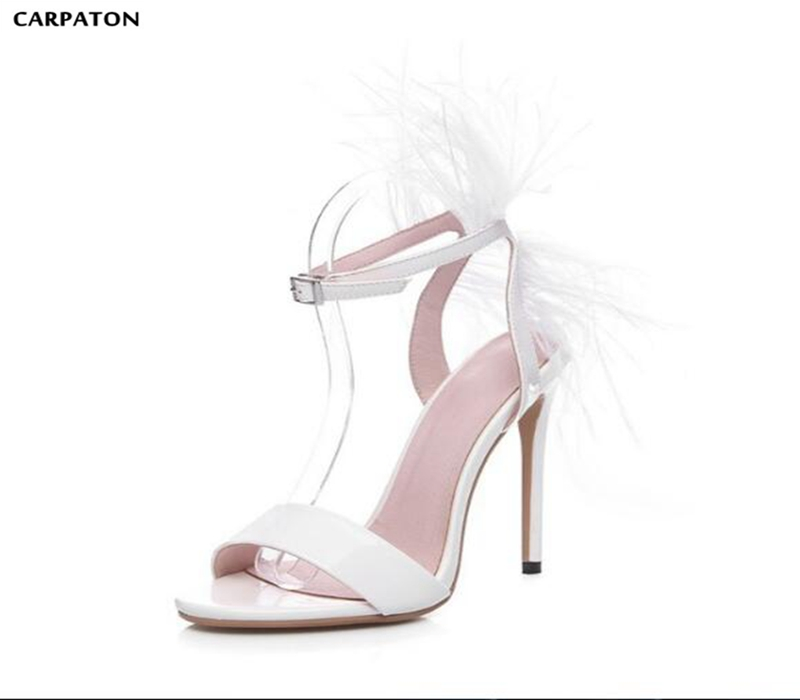 Carpaton 2019 Explosive Elegant Solid White Feather Decoration Wedding Shoes Round Toe Thin High Heels Women Sandals