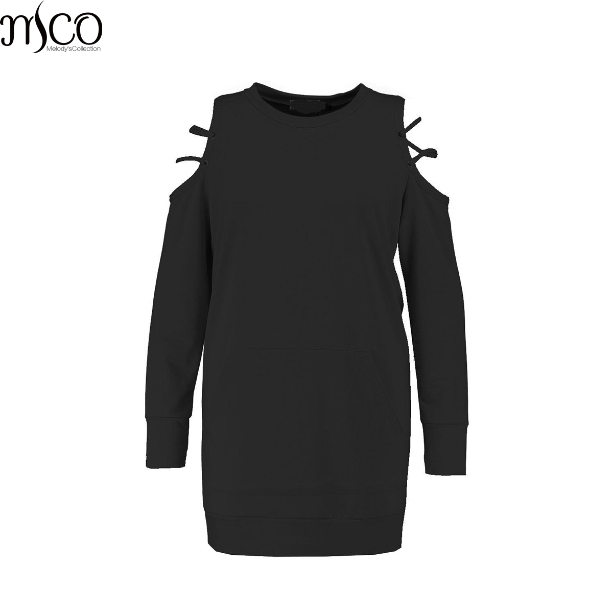 MCO Autumn <font><b>Sexy</b></font> Cold Caged Off Shoulder Plus Size Jumper <font><b>Dress</b></font> Oversized Black Tunic <font><b>Dress</b></font> Basic Big Size Women Clothing <font><b>6xl</b></font> 7xl image