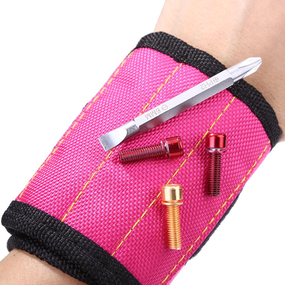 2pcs Oxford Cloth Magnetic Wristband Tool Bag Portable Electrician Wrist Tool Belt Screws Nails Drill Bits Holder Repair Toolkit