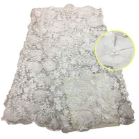 African 3D lace fabric with beads Nigerian beaded lace fabric Latest beaded tulle lace fabric HX482 2