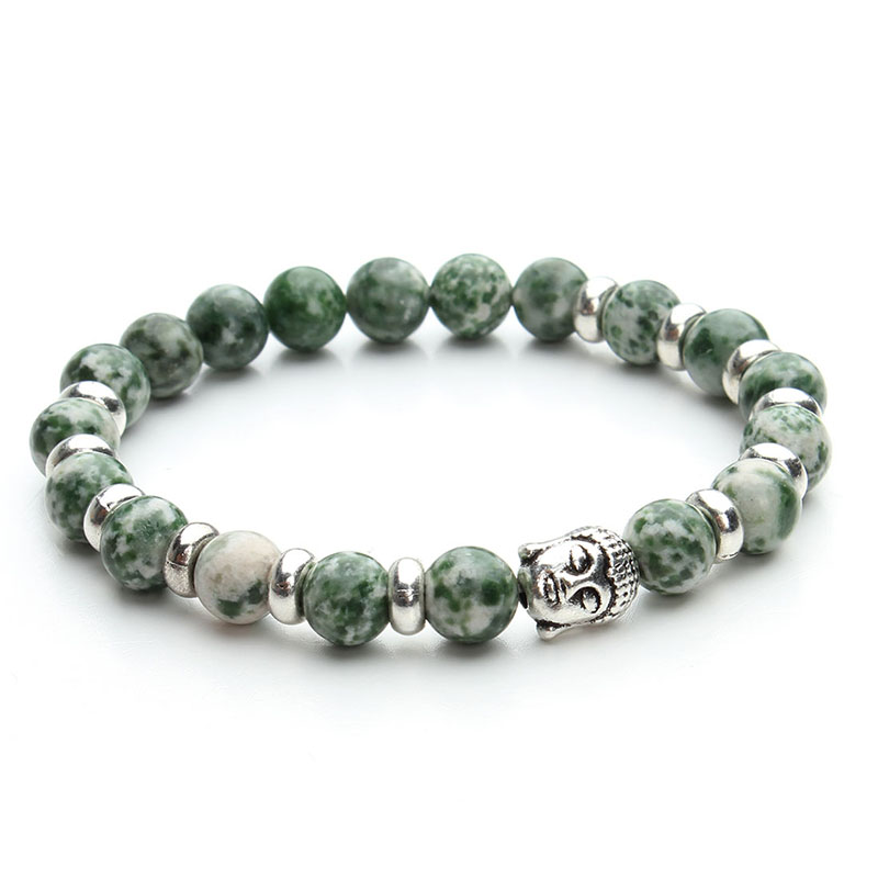 2016 New Handmade Natural Green Beads Stone Bracelet Men Antique Silver Color Buddha Head Beads Bracelets for Women F2820