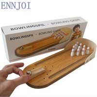 Children S Wooden Desktop Mini Bowling Board Game Set Metal Pin Ball Birthday Gift Present