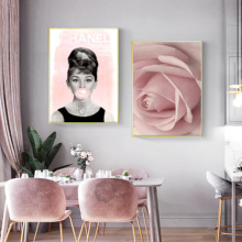 Modern Couture Wall Art Vogue Posters Prints Pink Flower Leaves Canvas Painting Home Decoration Pictures Fashion Cuadros