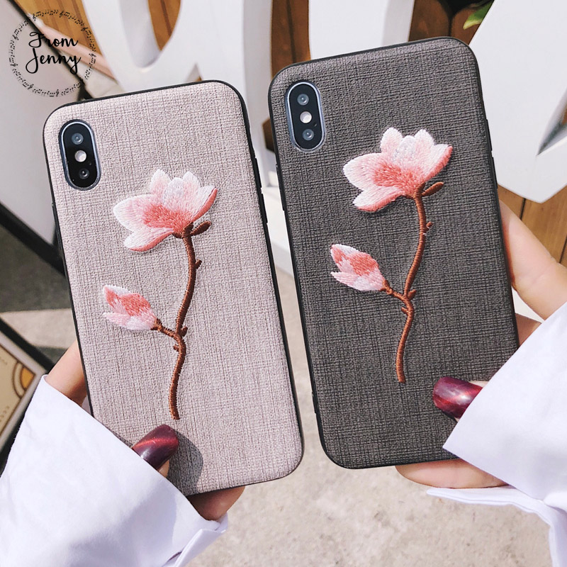 From Jenny 2018 SS Stylish Embroidery Flower Rose Strap Case For iPhone 7 7plus 6splus 6 6s 6plus 8 8plus X Free Shipping