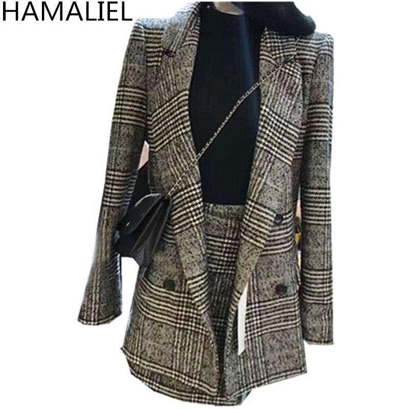 HAMALIEL зима для женщин костюмы 2018 офис плед Твид с длинным рукавом блейзер верхняя одежда + Мода мини юбка комплект 2 шт. Vestidos