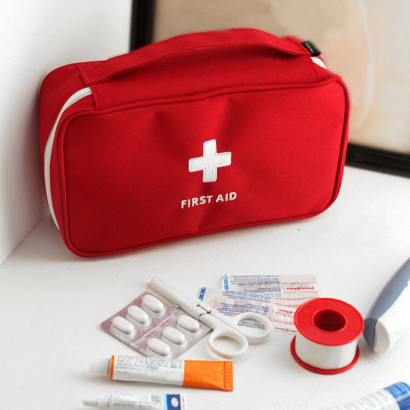 Sale 1PC Portable Red White Red Medicine Kit Candy BagsCross Pattern First Aid Kit Pouch Traveling Storage Bags
