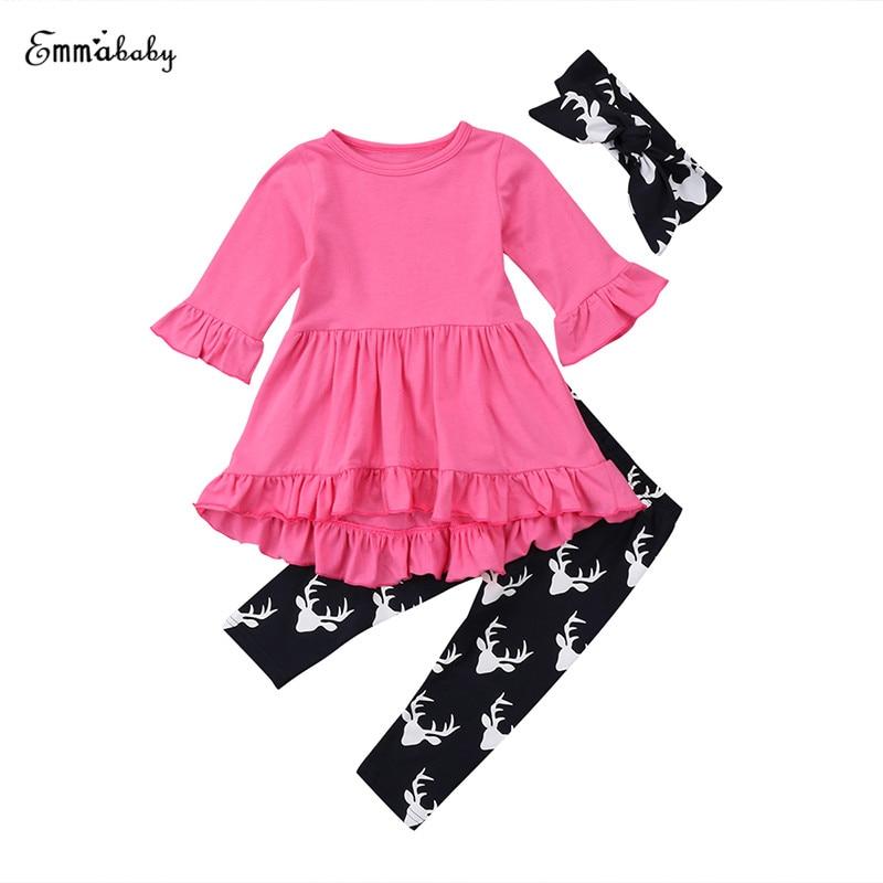 3PCS Toddler Kids Girls Clothing Set Rose Red Ruffles Sleeve Asymmetric Mini Dress Top Deer Pant Legging Headband Outfit Clothes