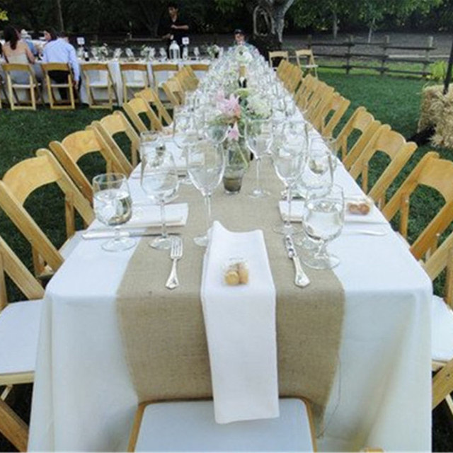 15pc 30275cm jute burlap table runner for rustic weddings or events decorations bridal shower