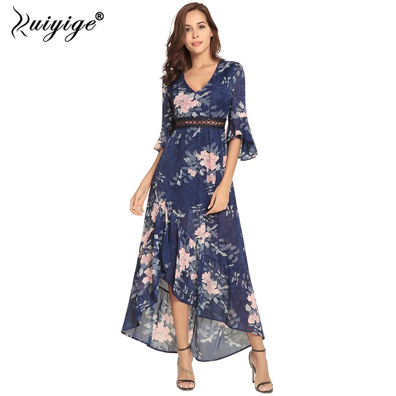 91331d35f6 Ruiyige Summer Boho Long Floral Print Dress Party Lace Patchwork Hollow Out  Maxi Beach Vestidos V