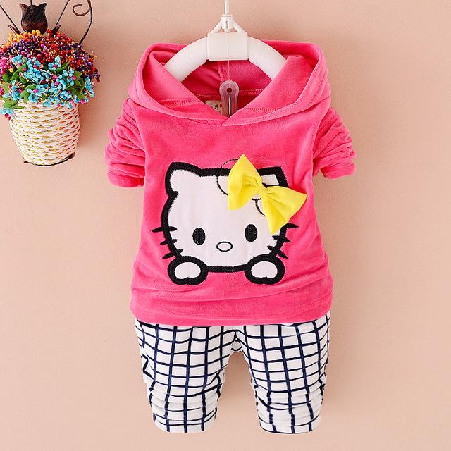Outono hello kitty roupa das crianças conjuntos de roupas infantis hoodies + calça esporte terno inverno bebê menina roupa dos miúdos roupas