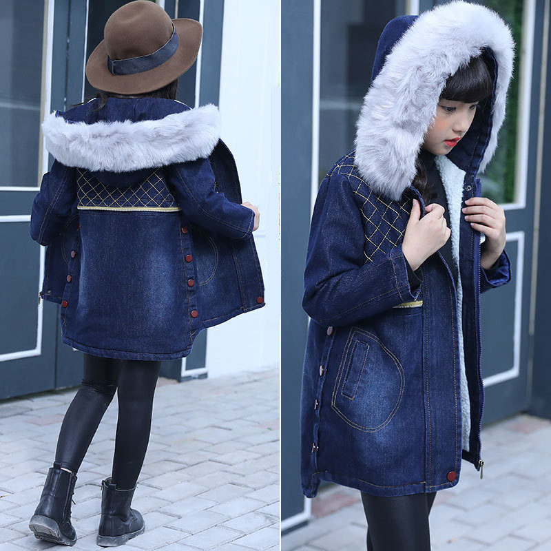 2017 New Winter Girls Denim Jacket Children Plus Velvet Thick Jacket Long Warm Fur Collar Coat Hoodie Jeans Trench plus size funnel collar maxi asymmetric hoodie