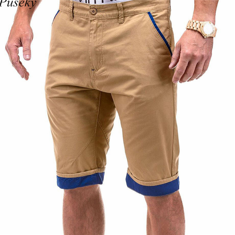 Summer Shorts Men Male Casual Khaki Men Shorts Slim Fitness Plus Size Beach Cotton Short XXXL Knee Length Shorts for Men ...