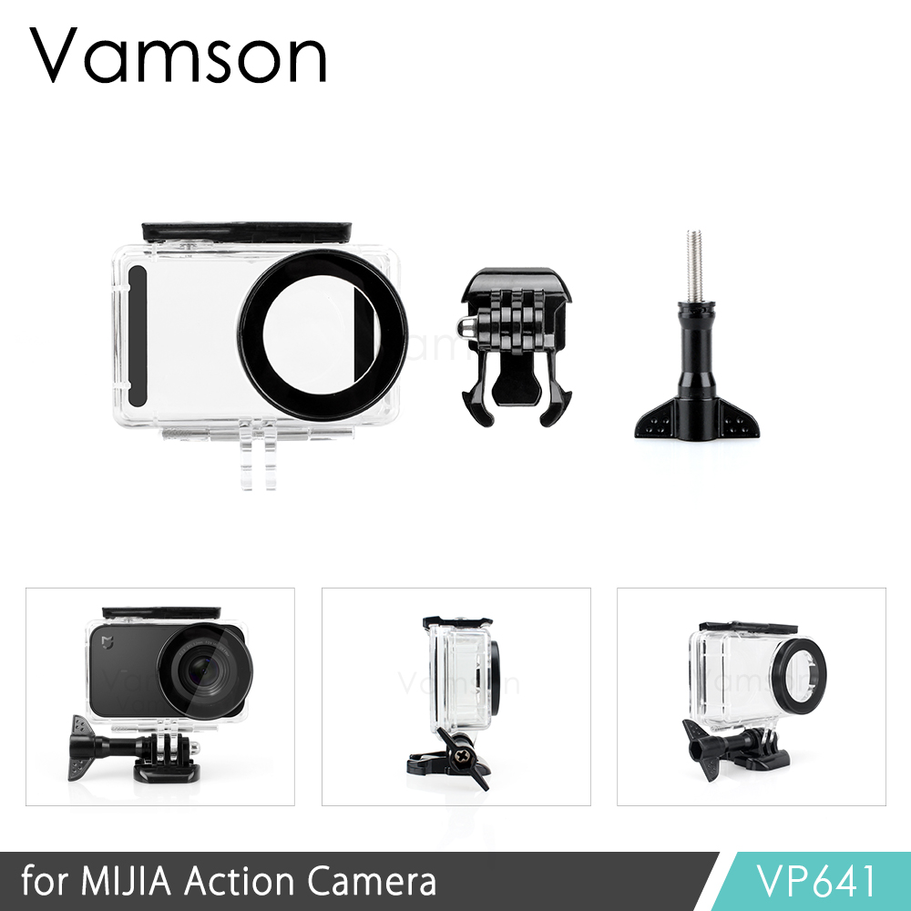 Vamson for Xiaomi mijia Diving Waterproof Case for Mi jia Sports Camera Case 4K Action Camera Protective Housing VP641 водонепроницаемый чехол для mi action camera 4k