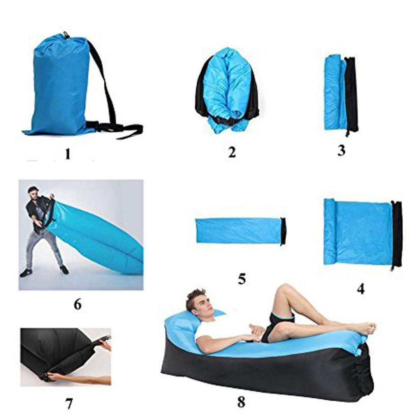 High Quality Portable Quick inflatable sofa interesting Lounger Chair Leisure sleeping bags Durable Home Camping bed 250*70 CM