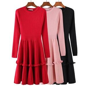 Image 2 - Elegant Women Sweater Dress 2018 Winter Solid ruffles Long Sleeve Sweater Dress Knee Length Female A Line Knitted Dress Vestidos