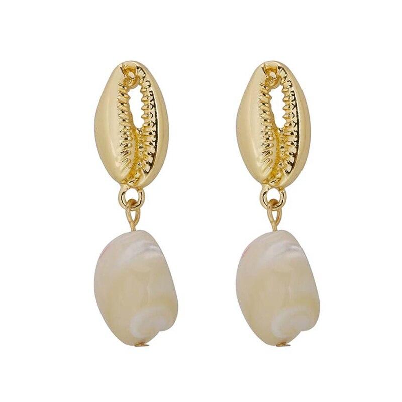 Srcoi Bohemian Spiral Conch S Earrings Handmade Beach Wedding Long Eearrings For Women Party Holiday Fashion Jewelry New