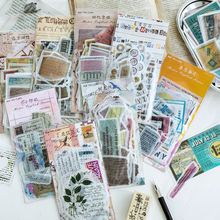 60PCS Vintage English Series Stickers Paper Creative Handbook Album Decoration Scrapbook DIY Diary Stationery Supplies