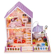 DIY Miniature House Handmade Doll House Wooden Model Buliding Kit Assembling Toys for Children Girls Sweet Birthday Gift(China)