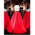 Duas Peças Prom 2017 Mulheres Do Partido Evening Formal Vestido Pageant dress a line red white satin lace beads até o chão zipper