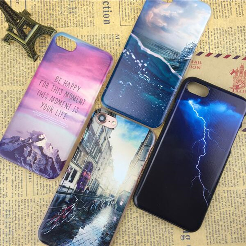 For Iphone 5S 7 6 6S Case Ultra Thin PC Hard Mountain Landscape For Iphone 7 6 6S SE Case Phone Cover Cases