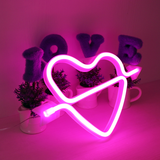 Neon Alphabet Heart Lamp & And Love  LED Night Light 4