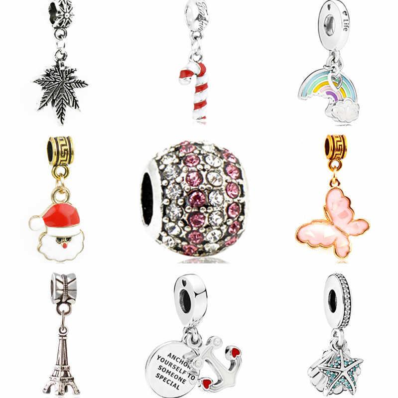 Collares colgantes niña larga oso mariposa estrella arcoíris encantos cuentas ajuste Pandora pulseras para mujeres DIY joyería Europea Bijoux