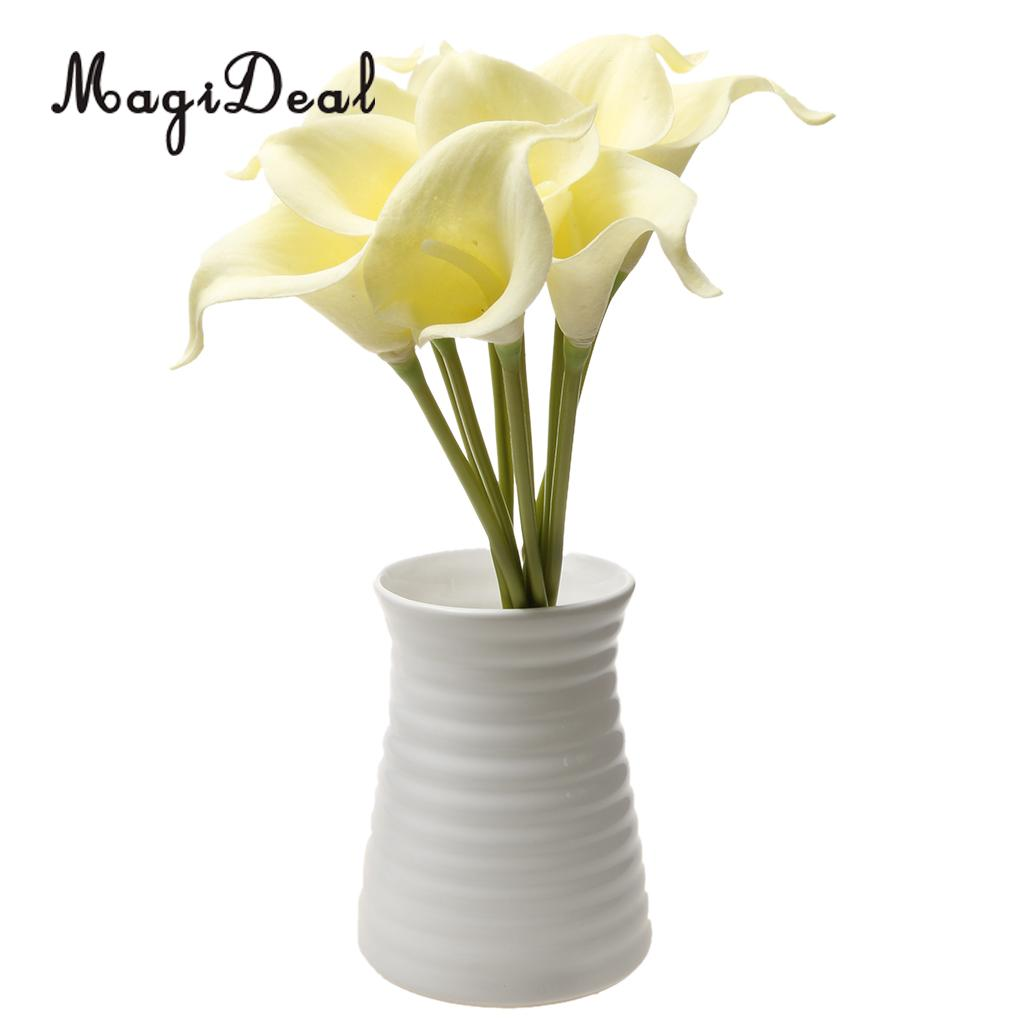 Magideal 9xpu artificial flower calla lily bouquet wedding floral magideal 9xpu artificial flower calla lily bouquet wedding floral decor milky white decoration for wedding festivals party home in artificial dried izmirmasajfo