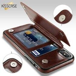 KISSCASE الرجعية بو الجلود حقيبة لهاتف أي فون X 6 6s 7 8 زائد XS 5S متعددة حامل بطاقة الهاتف خزائن هاتف آيفون XS XR 11 برو ماكس غطاء
