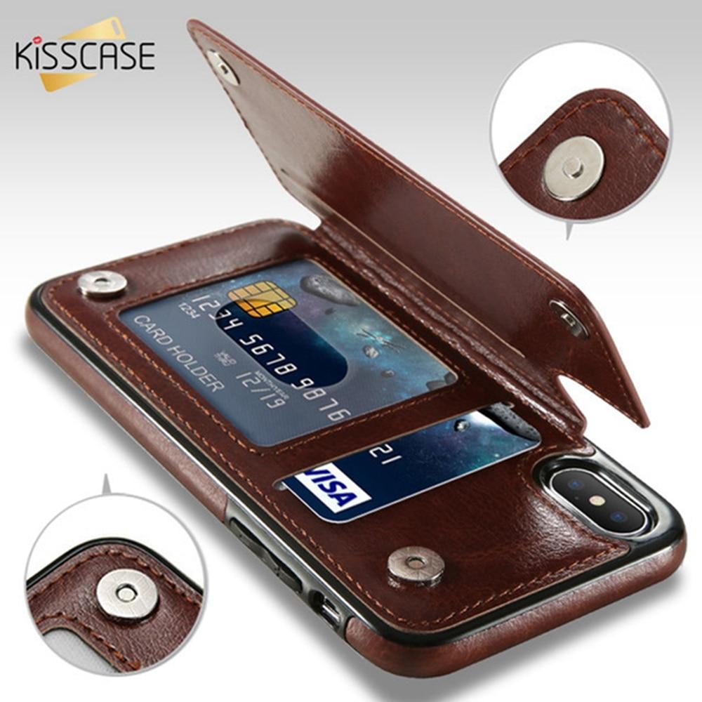 a2ada3b9583 KISSCASE Retro PU Funda de cuero para iPhone X 6 6S 7 8 Plus XS 5S SE Case  Fundas varios titulares de la tarjeta cajas del teléfono Funda para iPhone  XS Max ...