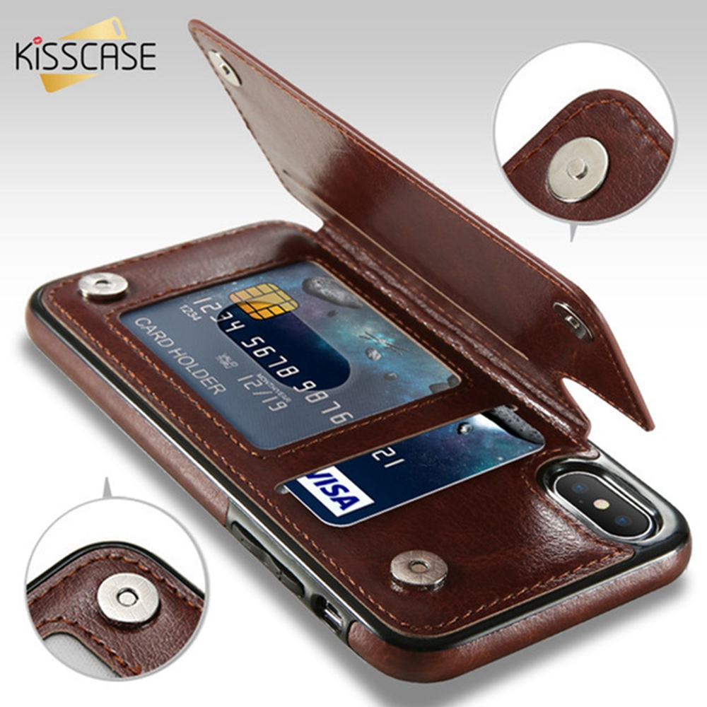 KISSCASE Retro PU Leather Case For iPhone X 6 6s 7 8 Plus XS 5S SE Multi Card Holders Phone Cases For iPhone XS Max XR 10 Cover essager ultra magnetic adsorption phone case for iphone xs max xr x 10 8 7 6 6s s r plus coque luxury magnet glass cover fundas