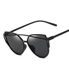 Plastic material Newest Brand Designer Cat Eye Mirror Sunglasses Women Twin-Beams Stylish Lady Flat Plane oculos de sol Uv400