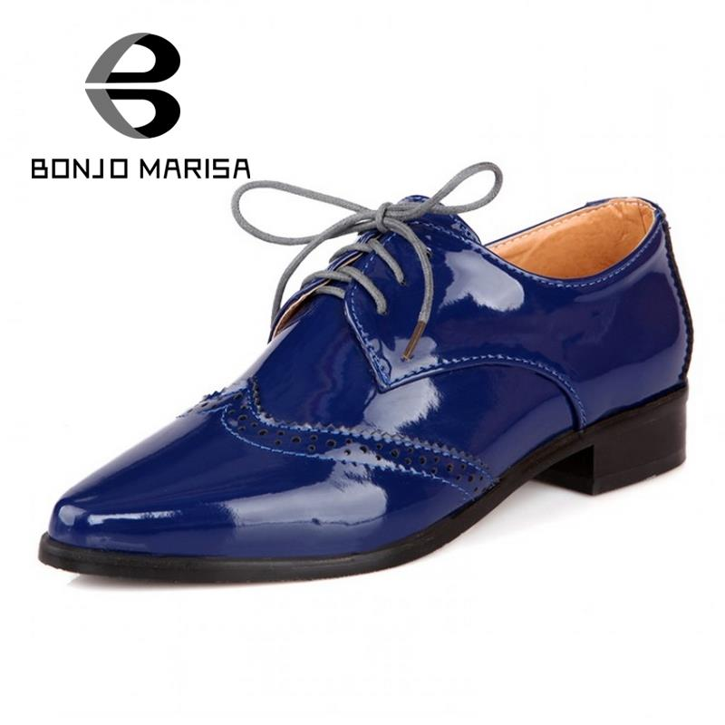 BONJOMARISA British Style Pointed Toe Women Oxfords Gladiator Lace Up Flat Heels Spring Autumn Casual Woman Shoes Flats Big size new 2015 autumn flat t strap oxford shoes for women vintage british style round toe low thick heels women oxfords shoes woman