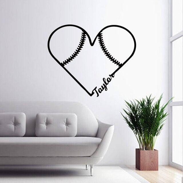 Custom Name Favorite Softball Vinyl Decals Lovely Baseball Wall Stickers  Bedroom Decoration Art Living Room DIY