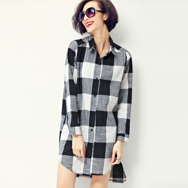 0d83b702dfed 2016 coco channel Fashion Korean Style Women long sleeve Loose shirt Dress  Cotton Black White Plaid Casual Dresses Big Size Clot