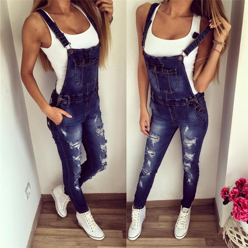 Spring Plus Size Elastic   Jeans   Jumpsuit Spliced Slim Pencil Denim Trousers Rompers Casual High Waist Skinny Strap Pants Overalls