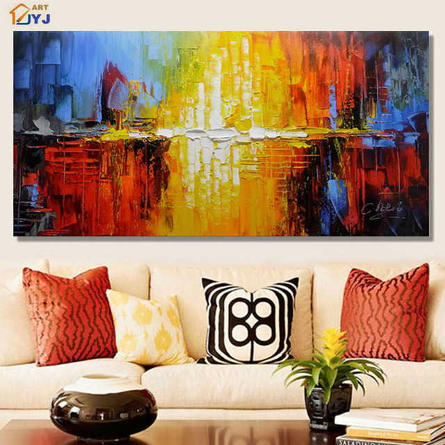 JYJ Quality Colorful World Picture 100% Hand Painted Modern Abstract ...