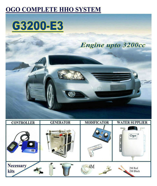 OGO – système complet HHO G3200 E3, carte intelligente PWM/mf jusquà 3200CC