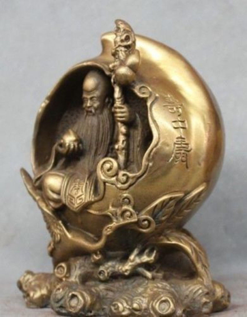 Chinese Fengshui Brass Xiantao God of longevity Red-crowned crane StatueChinese Fengshui Brass Xiantao God of longevity Red-crowned crane Statue