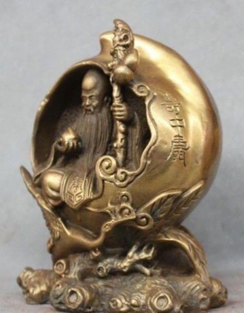 Chinois Fengshui Laiton Xiantao Dieu de la longévité Rouge-grue couronnée Statue