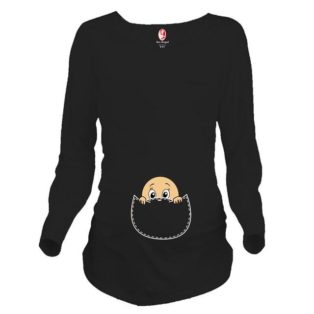 46920b370 Camisetas de embarazo de manga larga mujeres embarazadas tops divertidas  camisetas de maternidad con bebé espiando