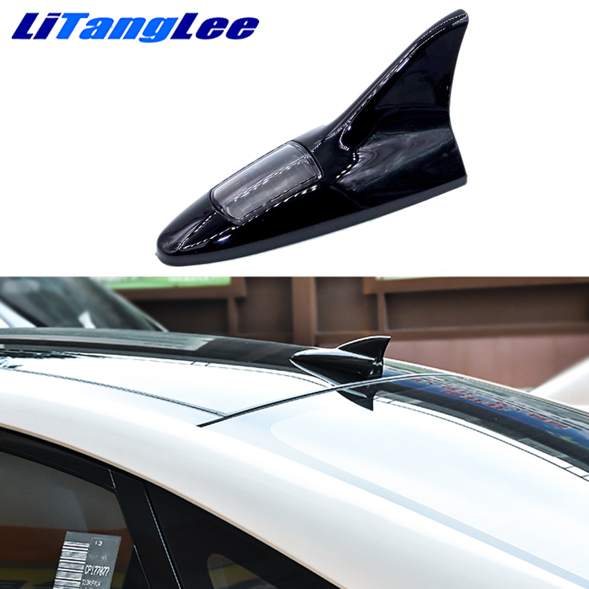 Litanglee Led Light Car Shark Fin Antena Solar Energy Wireless Remote Control Aerials Car Styling For Audi A4 A6 A1 A3 A5 A8 A7