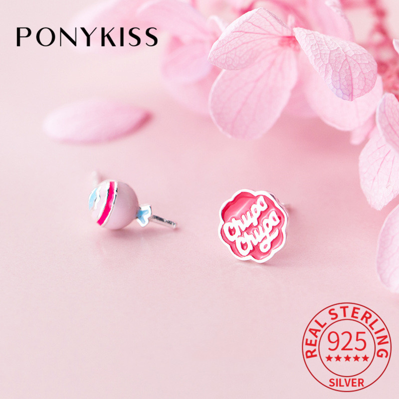 PONYKISS Real 925 Sterling Silver Asymmetric Candy Letter Stud Earrings Cute Delicate Party Accessory Girl Birthday Lovely Gift