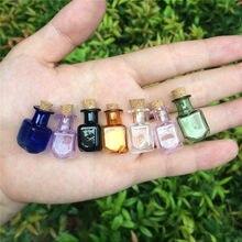 Маленькие стеклянные цветные бутылочки прямоугольные милые бутылочки с пробкой Маленькие Бутылочки в подарок крошечные баночки бутылочки 7 цветов