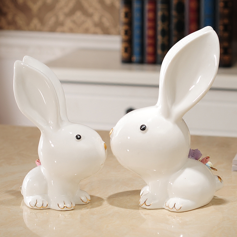 Creative Ceramic rabbit ornaments living room Ceramic decoration ornaments home wedding decor tabletop gift Crafts Furnishing in Figurines Miniatures from Home Garden